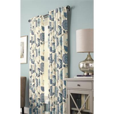 Floral Cottage 50 in. W x 84 in. L Light Filtering Window Panel in Indigo