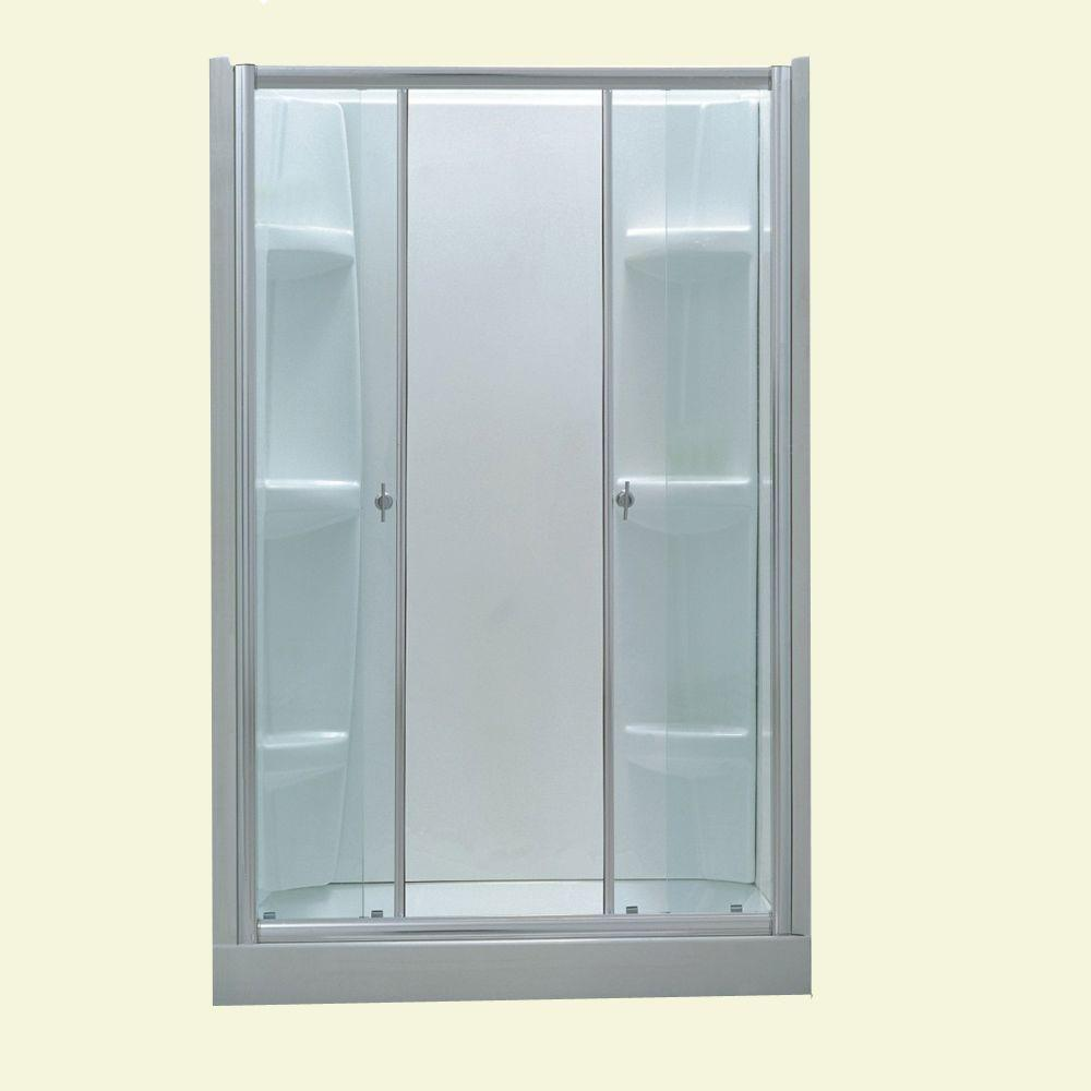 Dreamwerks 14 in. x 14 in. x 73 in. Clepsydra Shape Glass Shower ...