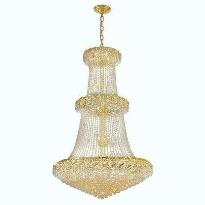 Empire Collection 32-Light Polished Gold and Crystal Chandelier