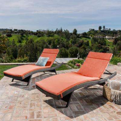 Salem Multi-Brown 4-Piece Wicker Outdoor Chaise Lounge with Orange Cushions