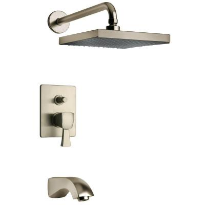 Lady 2-Handle 1-Spray Tub and Shower Faucet with 8 in. Rain Shower Head in Brushed Nickel (Valve Included)