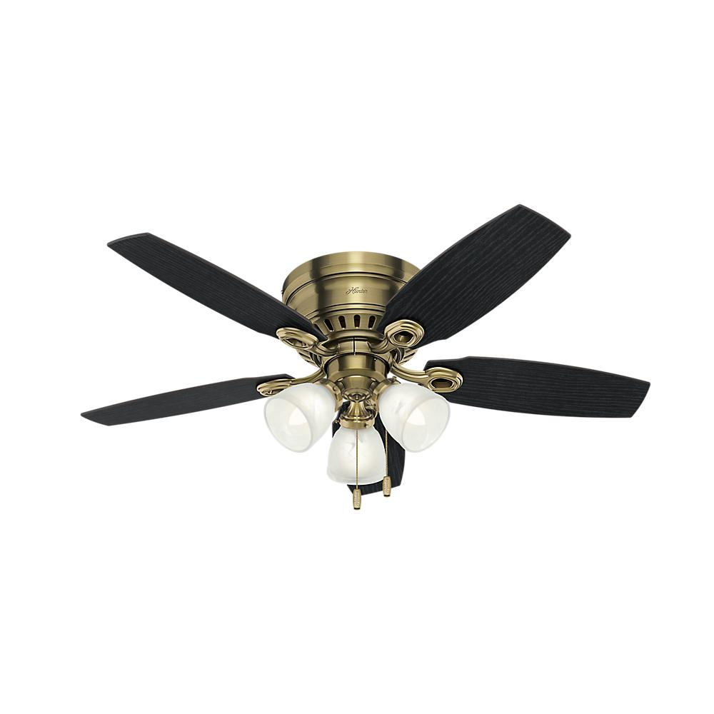 Indoor Antique Brass Ceiling Fan With Light Kit