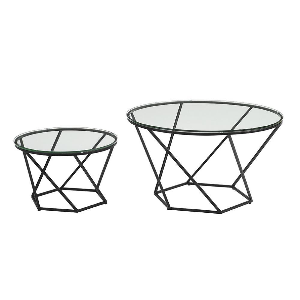 Walker Edison Geometric Glass Nesting Coffee Tables in Bl...