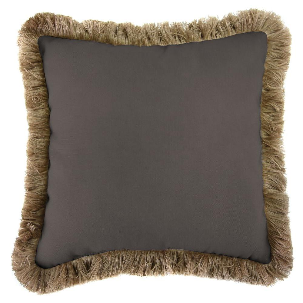 Jordan Manufacturing Sunbrella Canvas Coal Square Outdoor Throw Pillow with Heather Beige Fringe