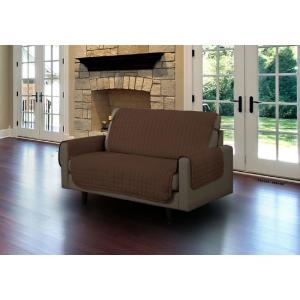 Brown Microfiber Loveseat Pet Protector Slipcover with Tucks and Strap by
