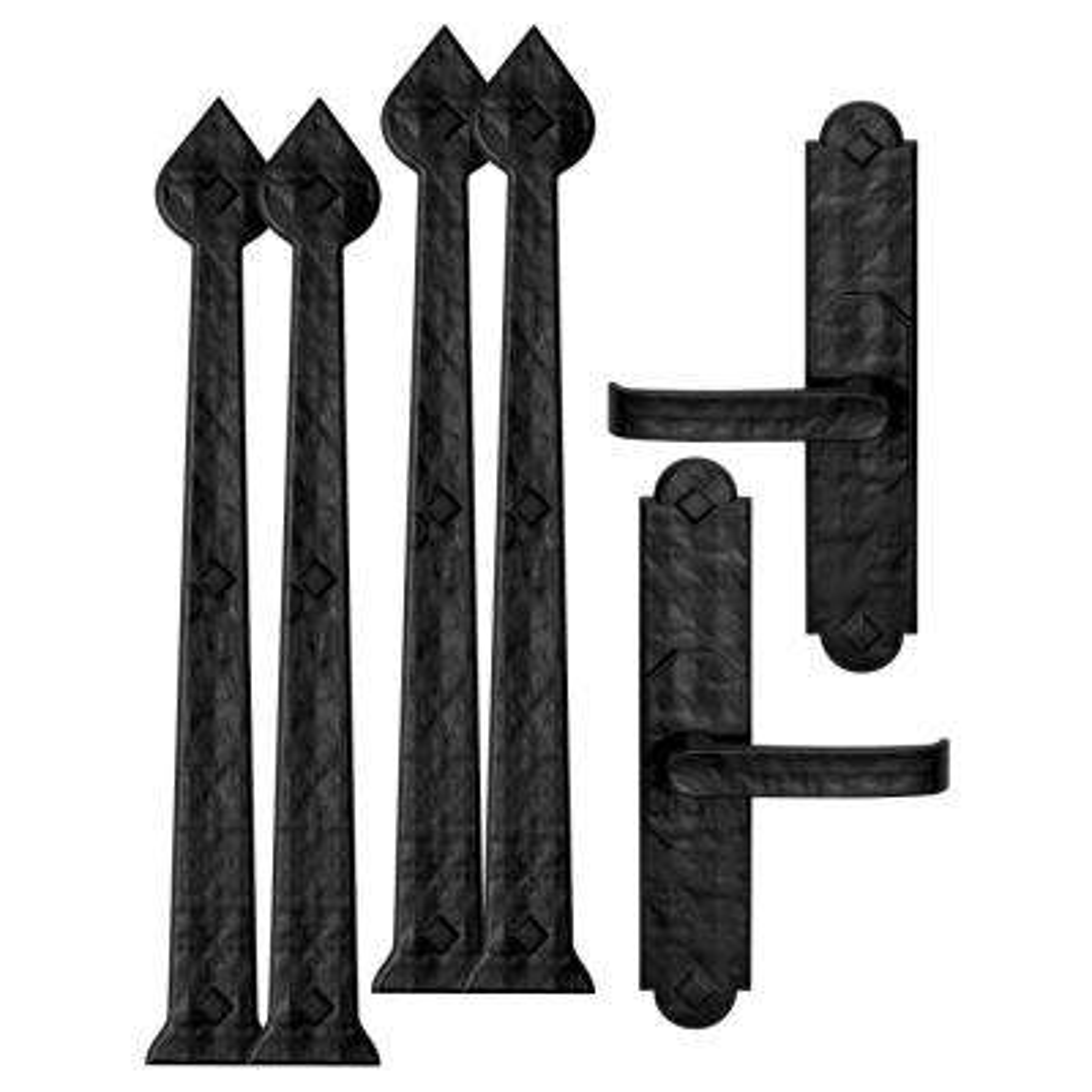 Rustic Aspen 11 in. x 5.5 in. Black Magnetic Garage Door Hardware Set (6-Piece)