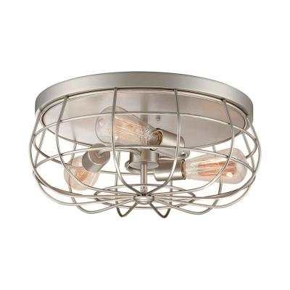 Neo-Industrial 3-Light 15.5 in. Satin Nickel Flush Mount Ceiling Fixture