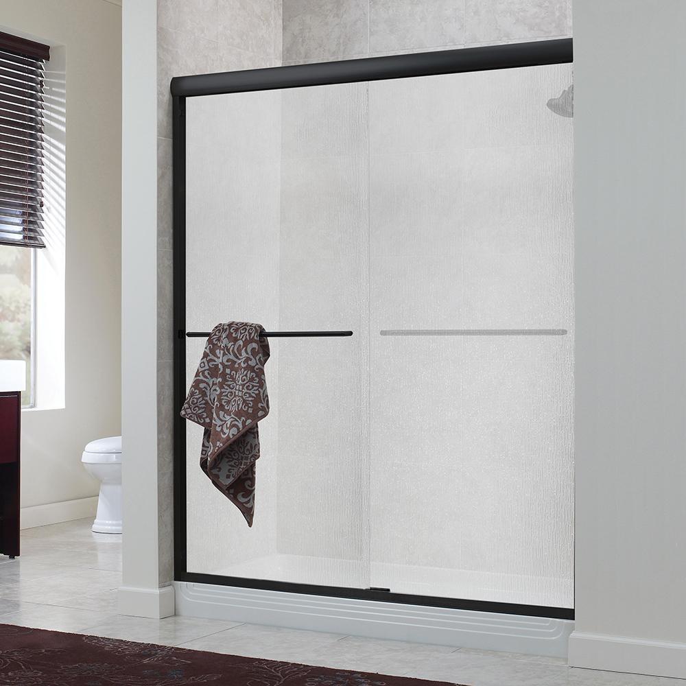 Cove 60 in. x 72 in. H Semi-Framed Sliding Shower Door in Oil Rubbed Bronze with 1/4 in. Rain Glass