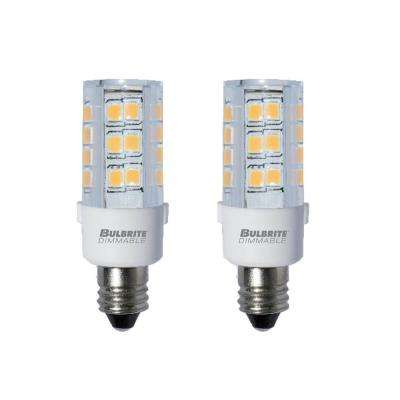 35-Watt Equivalent T4 Dimmable Mini-Candelabra LED Light Bulb Warm White Light (2-Pack)