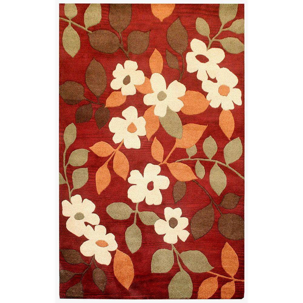 Perfect Rizzy Home Pandora Red Floral 8 Ft. X 10 Ft. Area Rug