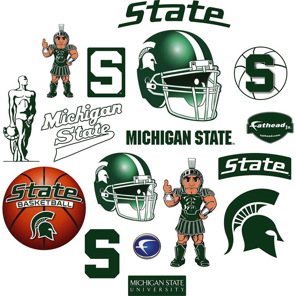 Fathead 40 in. x 27 in. Michigan State Spartans Team Logo Assortment Wall Decal