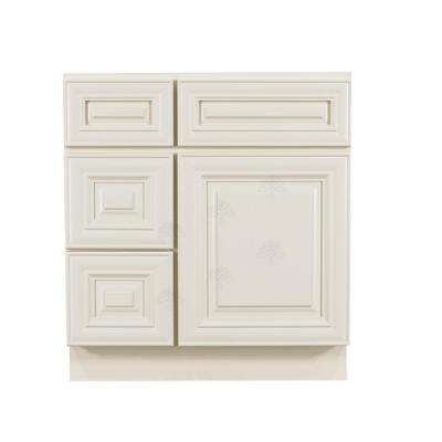 Princeton Assembled 30 in. W x 21 in. D x 33 in. H Bath Vanity Cabinet Only with 1-Door 2-Left Drawers in Off-White