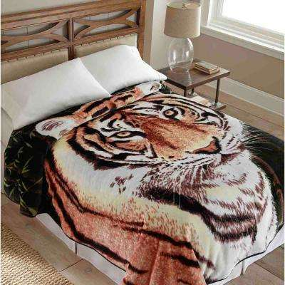 90 in. x 90 in. High Pile Tiger Raschel Knit Coverlet