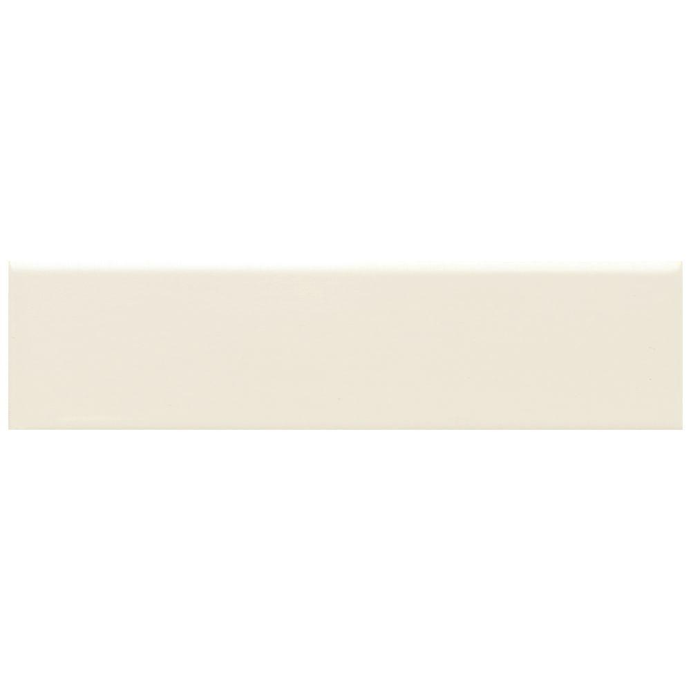Daltile Modern Dimensions 2-1/8 in. x 8-1/2 in. Matte Biscuit Ceramic Bullnose Wall Tile-DISCONTINUED