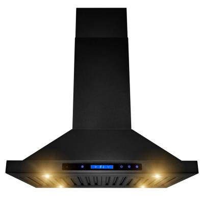 AKDY 30 in. 350 CFM Convertible Island Mount Kitchen Range Hood in Black Painted Stainless Steel with Lights, Black Painted...