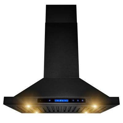 30 in. 350 CFM Convertible Island Mount Kitchen Range Hood in Black Painted Stainless Steel with Lights