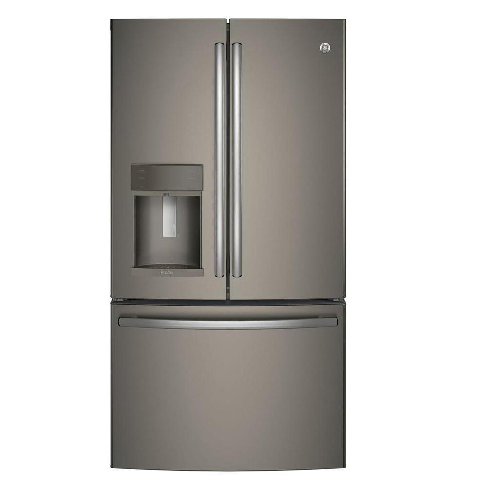 GE Profile 22.2 cu. ft. French Door Refrigerator with Hands Free Autofill in Slate, Counter Depth and Fingerprint Resistant