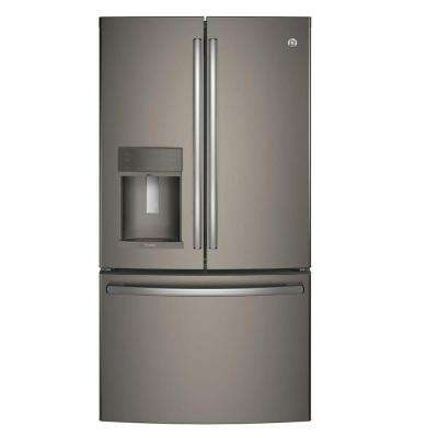 35.75 in. W 22.2 cu. ft. French Door Refrigerator with Hands Free Autofill in Slate, Counter Depth, ENERGY STAR