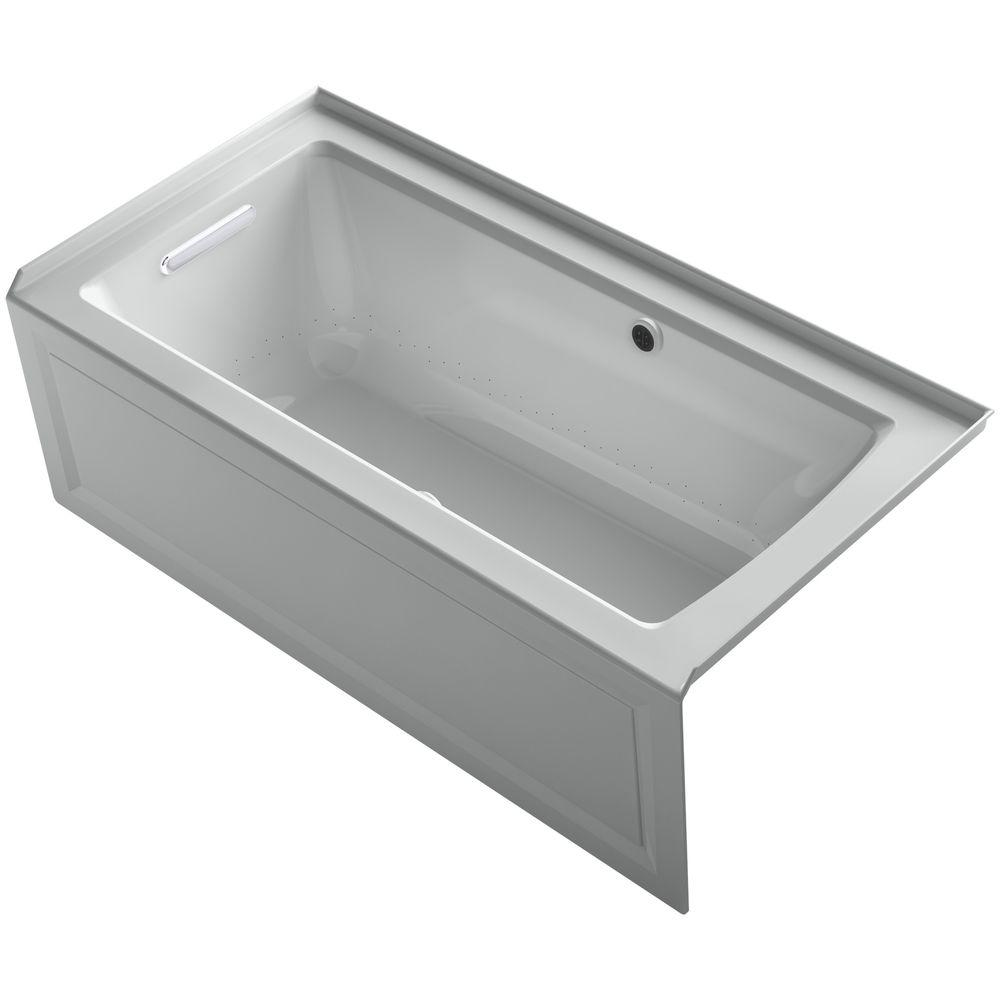 KOHLER Archer 5 ft. Walk-In Whirlpool and Air Bath Tub in Ice Grey-K ...