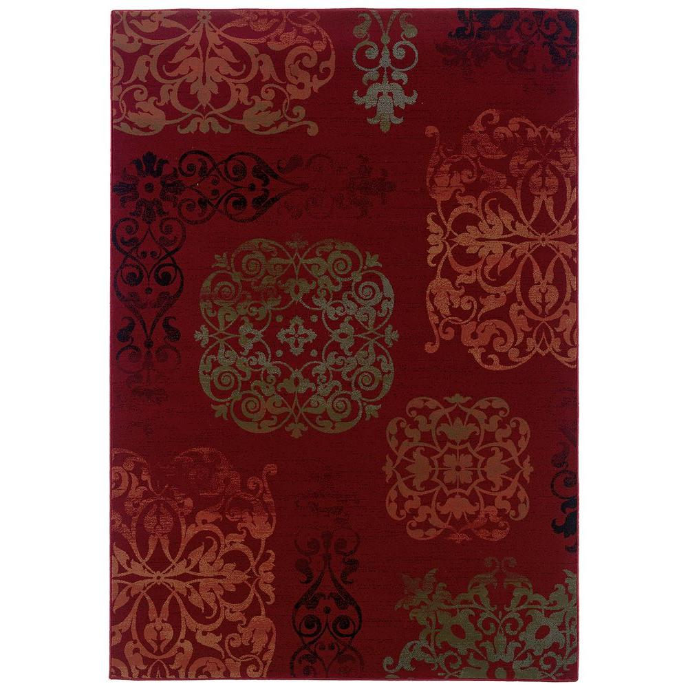 LR Resources Filigree Crimson 5 ft. 3 in. x 7 ft. 6 in. Plush Indoor Area Rug
