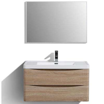 Smile 36 in. W x 20 in. D x 21 in. H Vanity in White with Acrylic Vanity Top in White Oak with White Basin