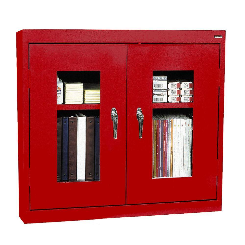30 in. H x 36 in. W x 12 in. D Clear View Wall Cabinet in Red