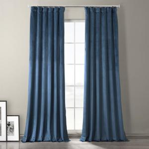 Exclusive Fabrics Furnishings Baroness Blue Plush Velvet Hotel Blackout Curtain 50 In W X 108 In L 1 Panel Vpyccbo19910108 The Home Depot