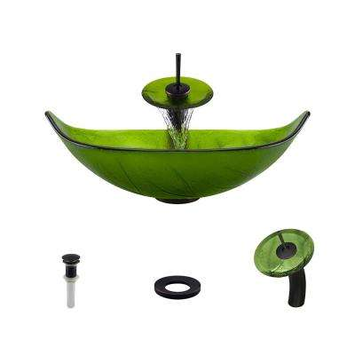 Glass Vessel Sink in Green Leaf with Waterfall Faucet and Pop-Up Drain in Antique Bronze