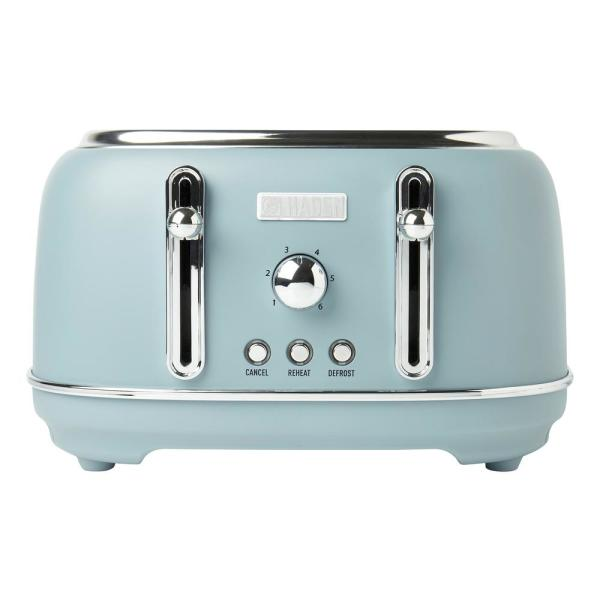 Highclere 4-Slice, Wide Slot Pool Blue Retro Toaster with Removable Crumb Tray and Adjustable Settings