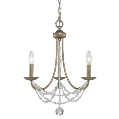 Tatiana Collection 3-Light Golden Mini-Chandelier