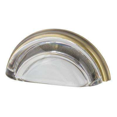 3 in. Cup Crystal Clear on Center in Antique Brass Drawer Pull
