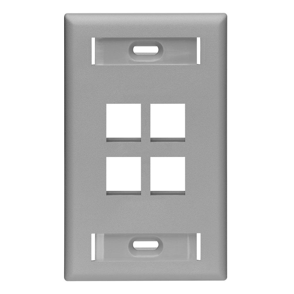 1-Gang Quickport Standard Size 4-Port Wallplate with ID Windows, Gray