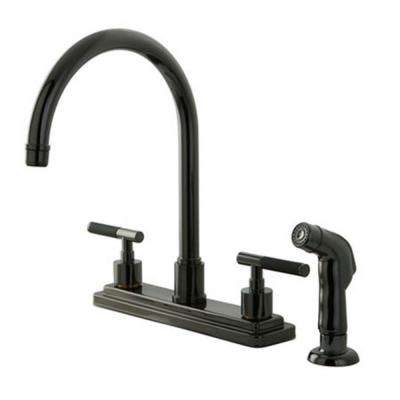 Designer 2-Handle Standard Kitchen Faucet with Side Sprayer in Black Stainless Steel