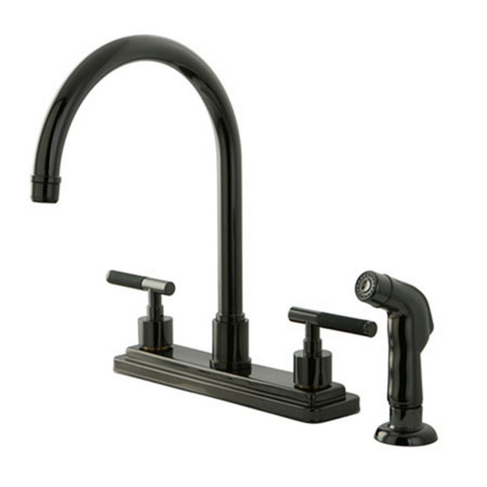 Kingston Brass Designer 2 Handle Standard Kitchen Faucet With Side