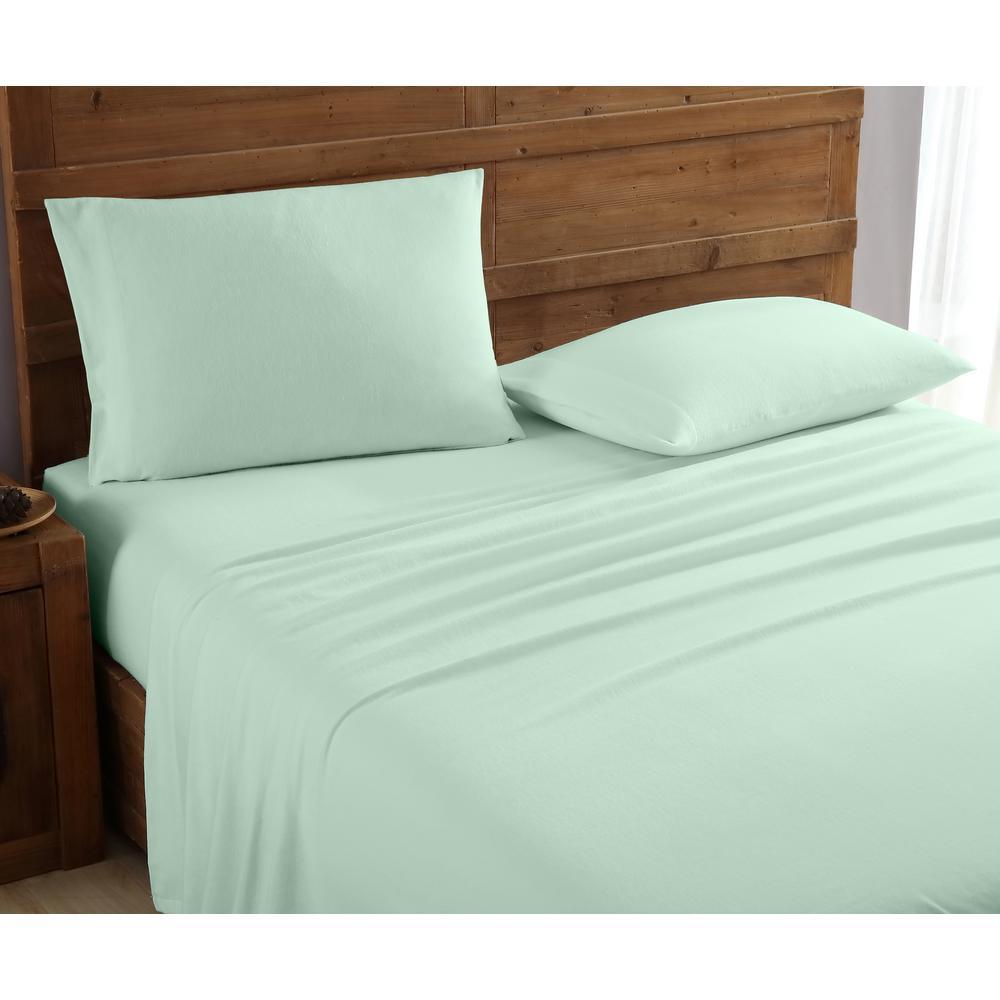 Geraldine 100% Cotton Sage Flannel Twin Sheet Set M577444