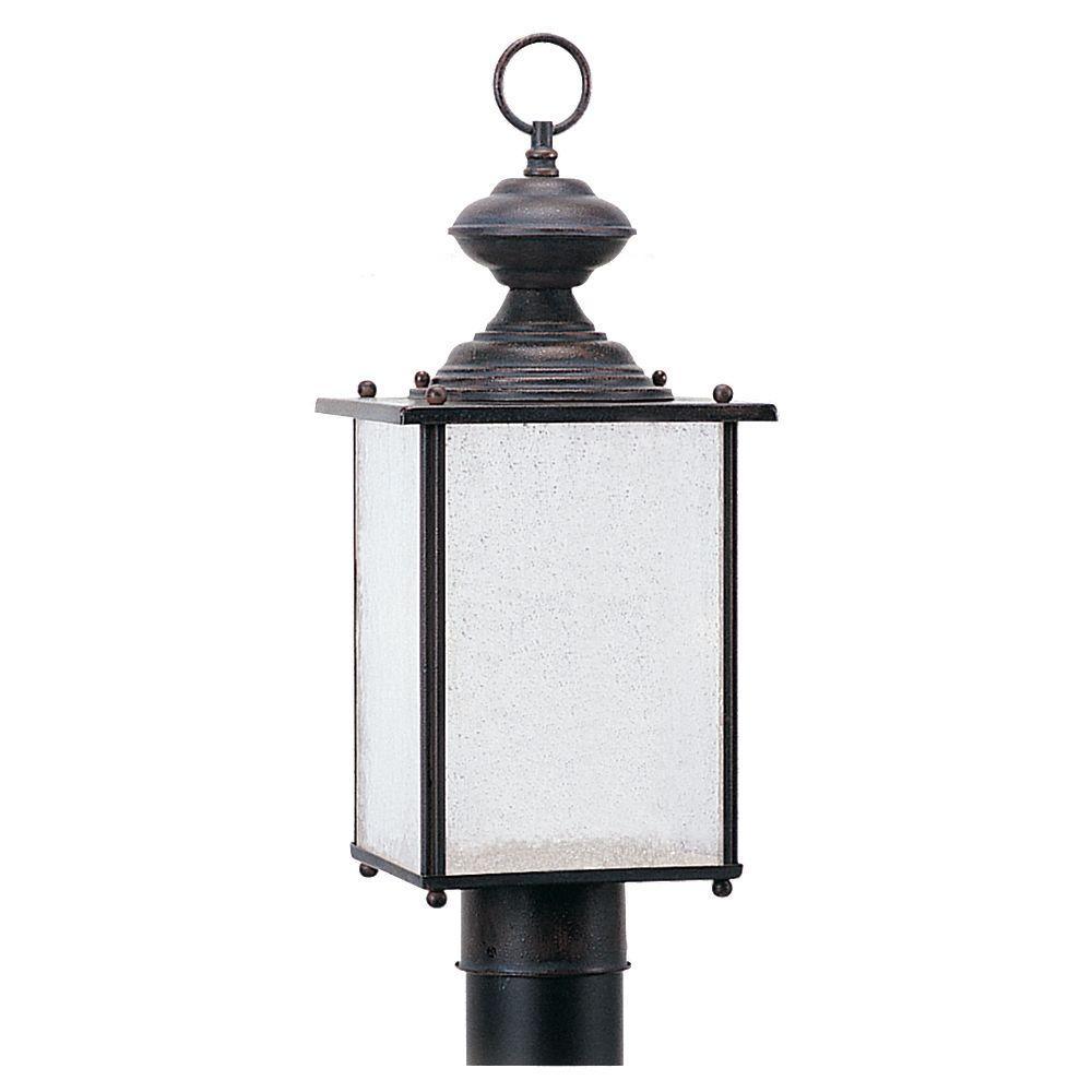 Sea Gull Lighting Jamestowne 1-Light Textured Rust Patina Outdoor Post Top