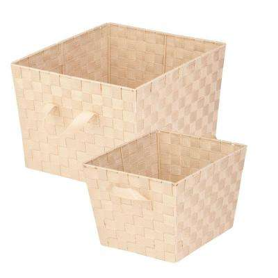 33.8 Qt. and 16.6 Qt. Storage Basket in Creme (2-Pack)