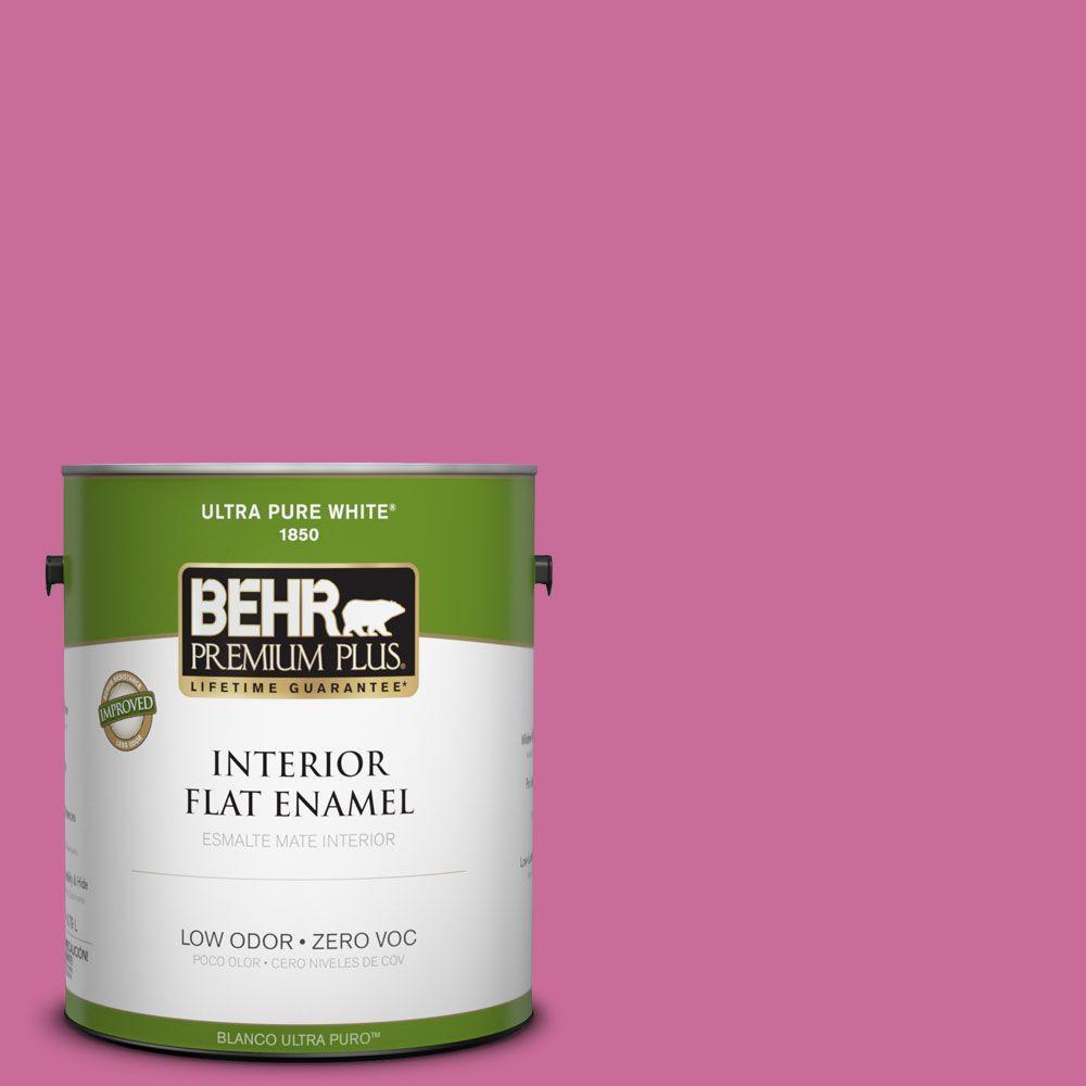BEHR Premium Plus 1-gal. #100B-6 Fuchsia Kiss Zero VOC Flat Enamel Interior Paint-DISCONTINUED