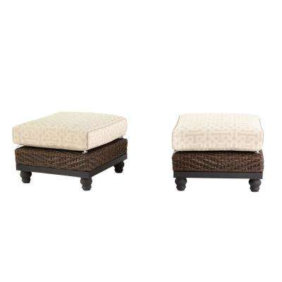 Camden Dark Brown Wicker Outdoor Ottoman with Sunbrella Fretwork Flax Cushion