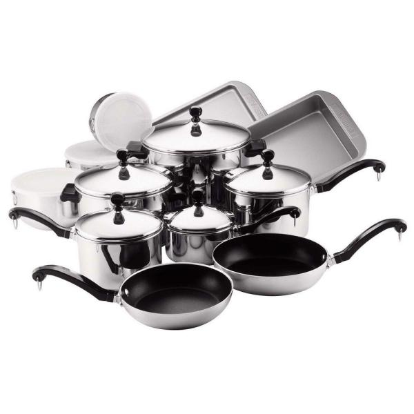 Farberware Classic Series 17-Piece Stainless Cookware Set with Lids 71238