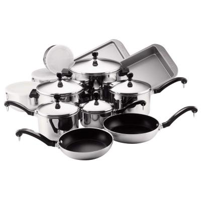 Classic Series 17-Piece Stainless Steel Nonstick Cookware Set