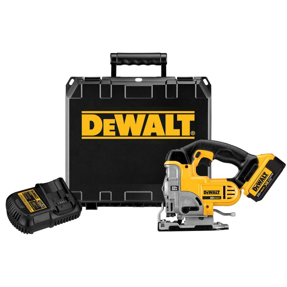 DEWALT 20-Volt MAX Lithium-Ion Cordless Jig Saw Kit with Battery 4Ah, Charger and Case