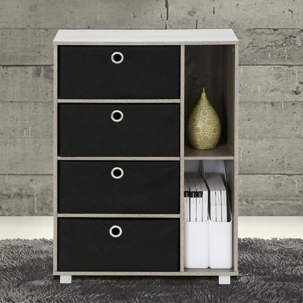 Furinno French Oak Grey and Black Storage Chest 11159GYW/BK