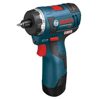 12 Volt Lithium-Ion Cordless Electric 1/4 in. Hex 2-Speed Pocket Driver with (2) 2.0 Ah Batteries and Carrying Case
