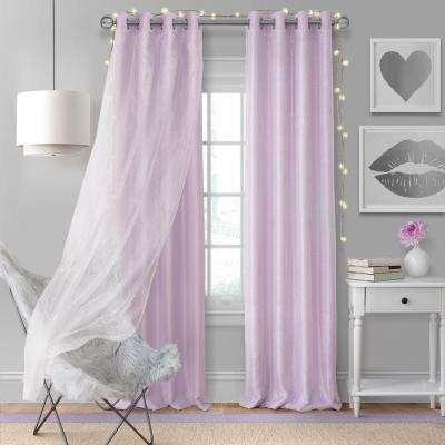 Elrene Aurora Single Window Curtain Panel with Sheer Overlay in Lavender - 52 in. W x 95 in. L