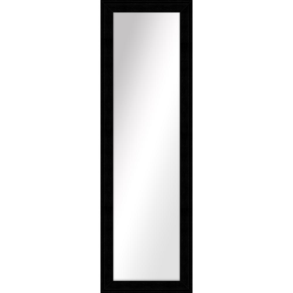 Large Rectangle Wood Grain Black Art Deco Mirror (52.5 in. H x 16.5 in. W)