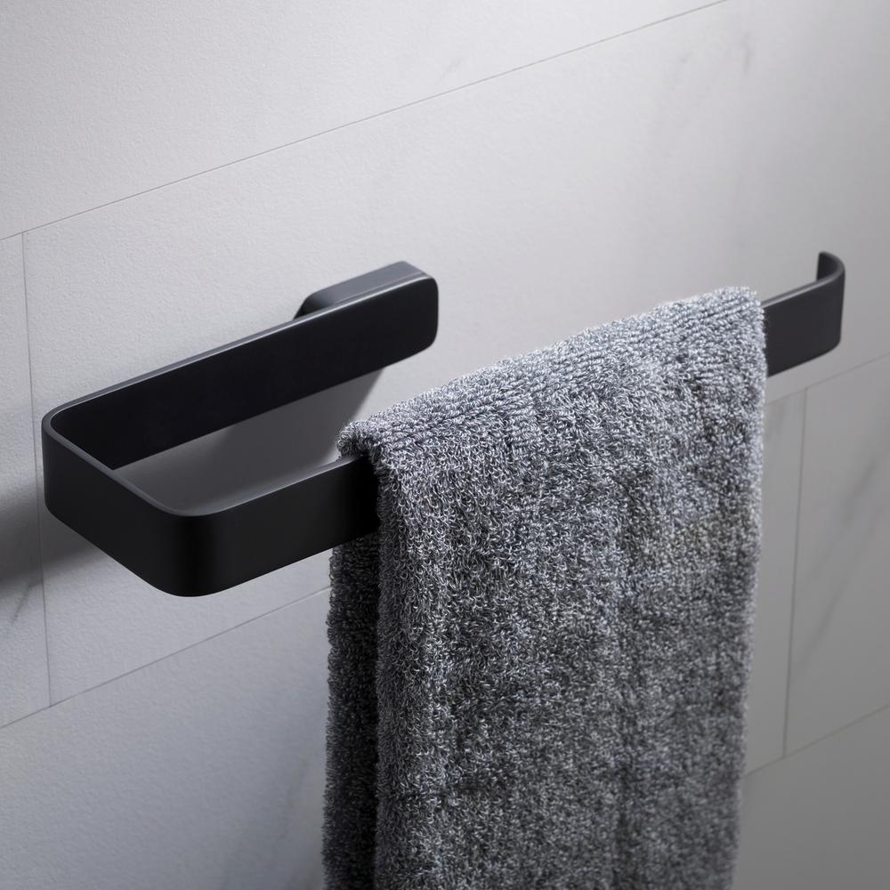 Stelios Bathroom Towel Ring in Matte Black