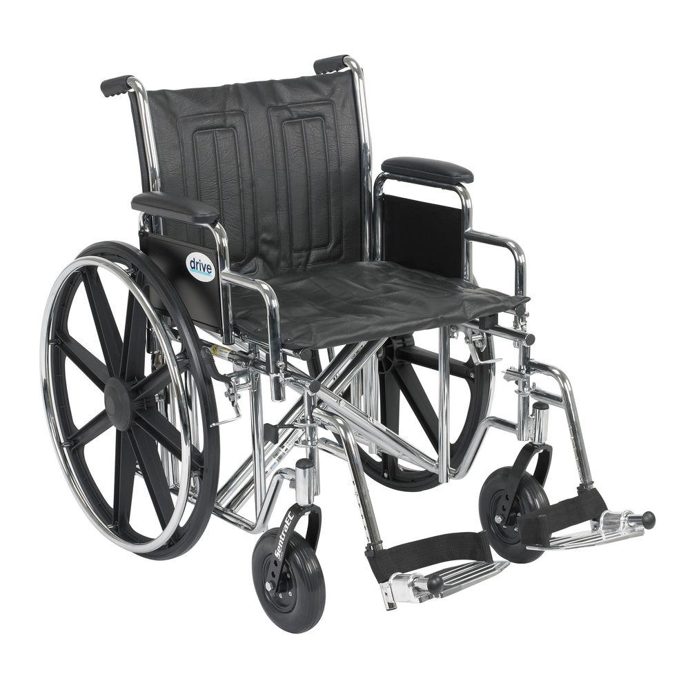 Drive Sentra EC Heavy Duty Wheelchair with Desk Arms, Swing Away Footrest and 20 in. Seat