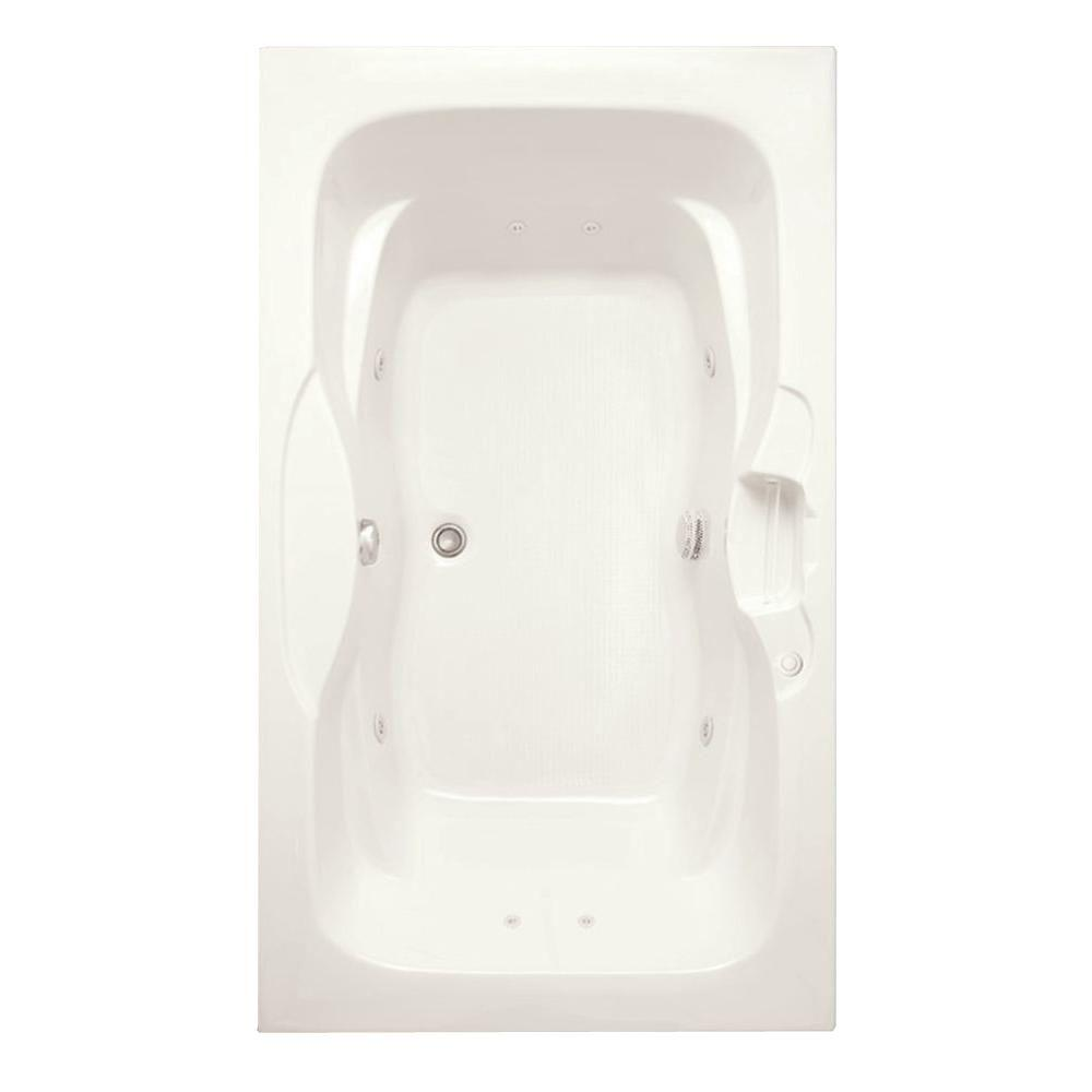 Aquatic Morice 6 ft. Acrylic Center Drain Rectangular Drop-in Whirlpool Bathtub Pump Location 2 with Heater in Biscuit