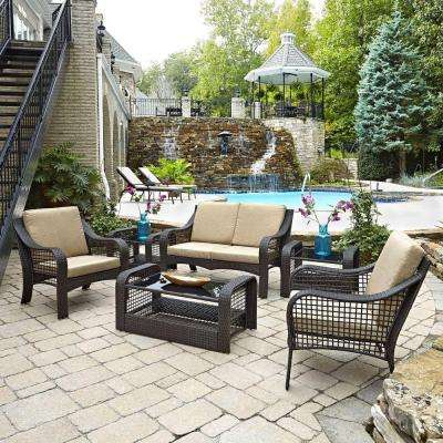 Lanai Breeze Dark Brown Woven 2-Piece Love Seat Patio Accent Chairs, 2 End Tables and Coffee Table